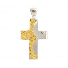 Λευκόχρυσος σταυρός 14 καρατίων  01.0250