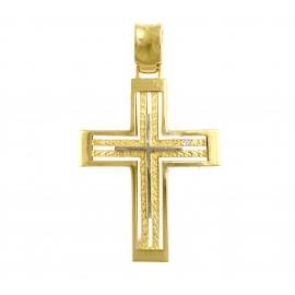 Χρυσός σταυρός  14 καρατίων δύο όψεων   01.0265