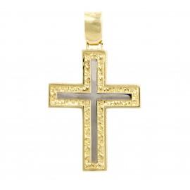 Χρυσός σταυρός  14 καρατίων δύο όψεων   01.0266