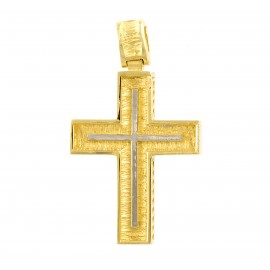 Χρυσός σταυρός  14 καρατίων δύο όψεων   01.0268