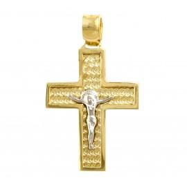 Χρυσός σταυρός  14 καρατίων δύο όψεων   01.0270