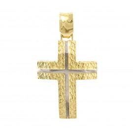 Χρυσός σταυρός  14 καρατίων δύο όψεων   01.0277