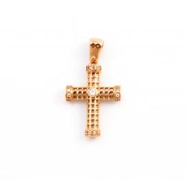 Σταυρός σε ροζ χρυσό 14 καρατίων  08.0059